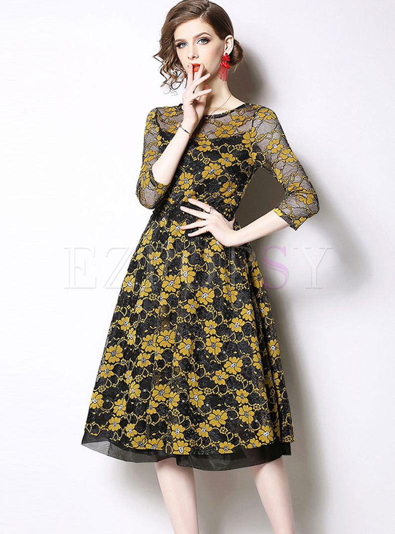 Three Quarters Sleeve Lace Embroidered Dress