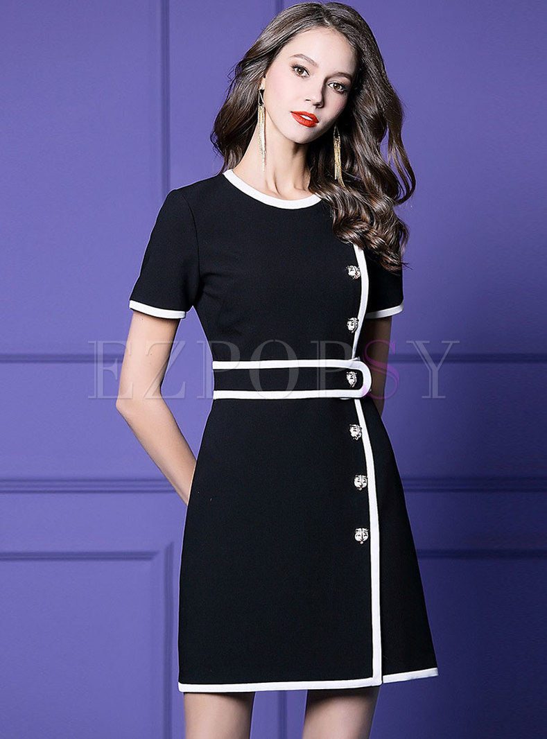 Chic Color-blocked O-neck High Waist Slim Dress