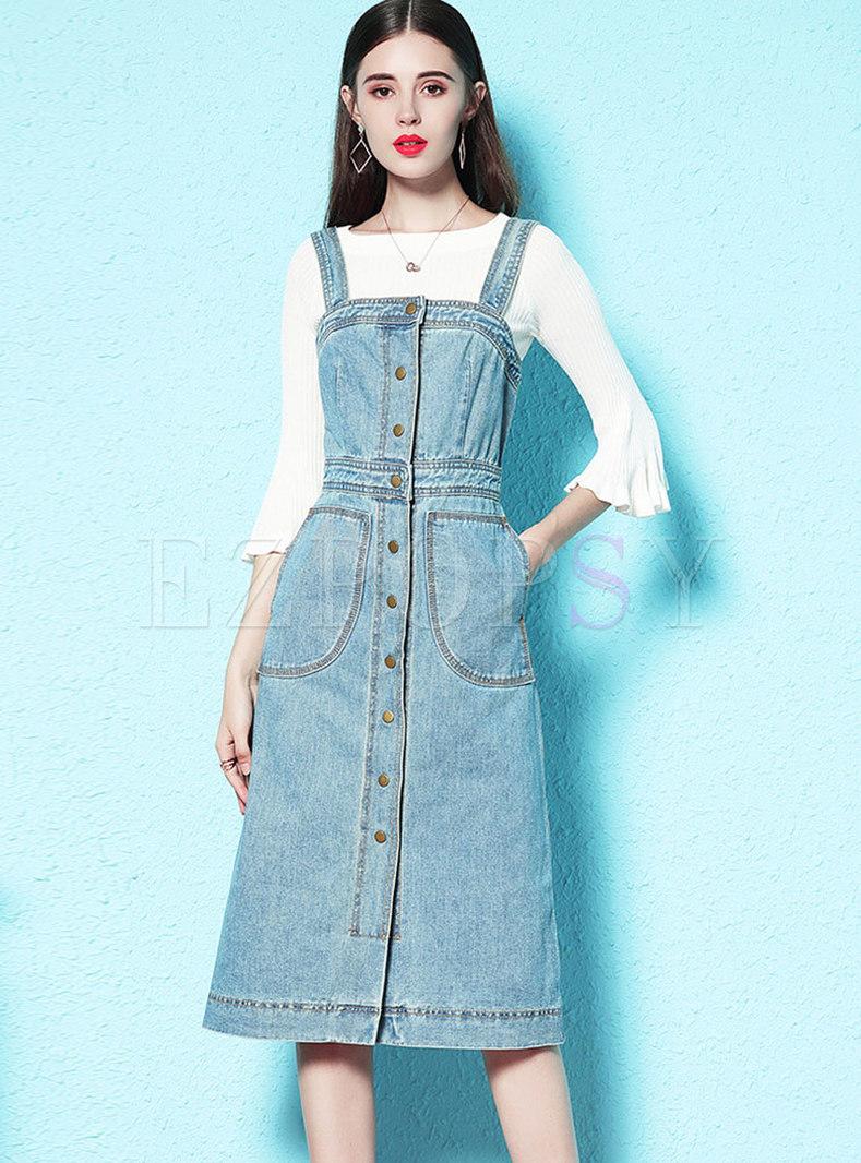 Flare Sleeve Slim Sweater & Denim Slim Suspender Skirt