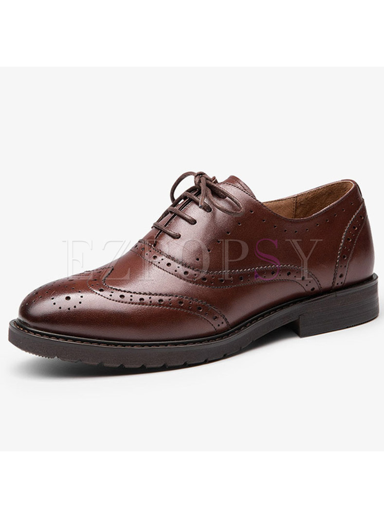 Casual Genuine Leather Lace Up Flat Heel Oxford