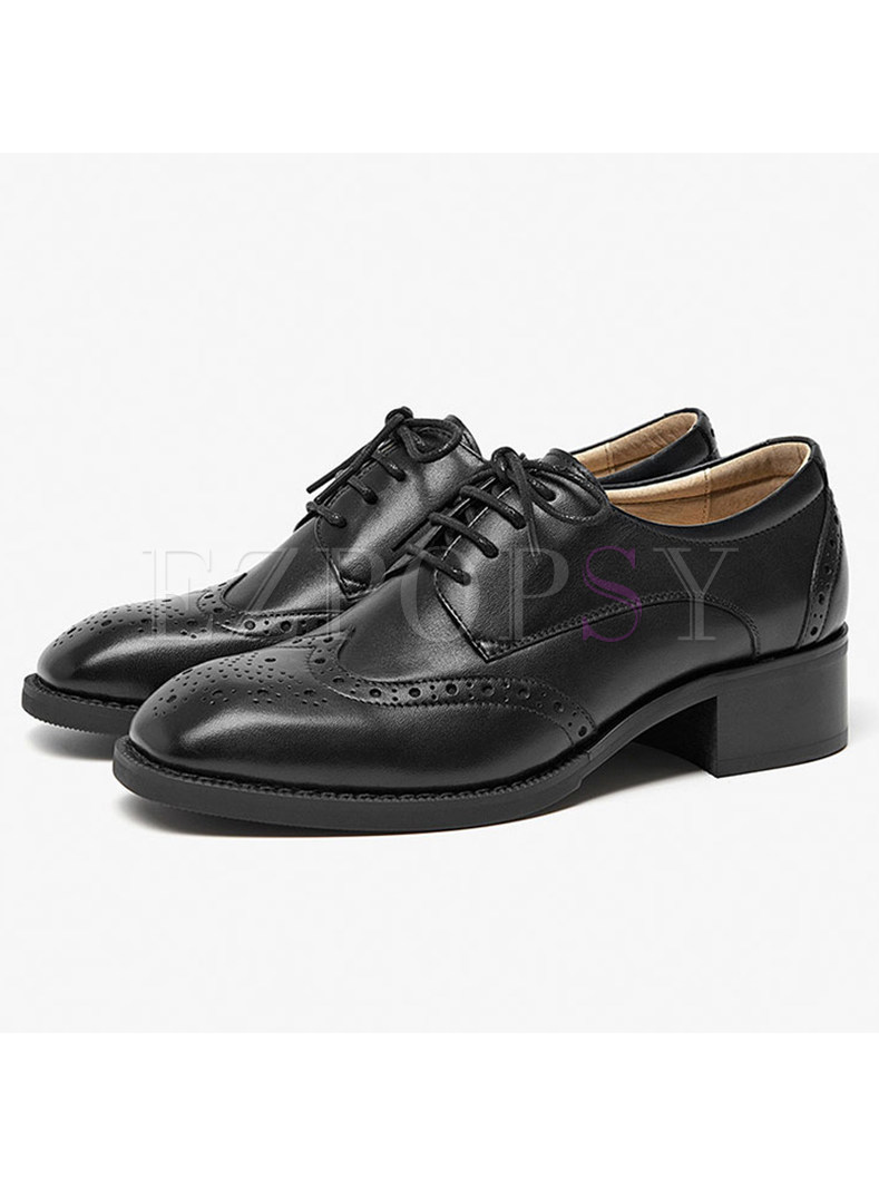 Trendy Round Toe Chunky Heel Lace-up Oxford