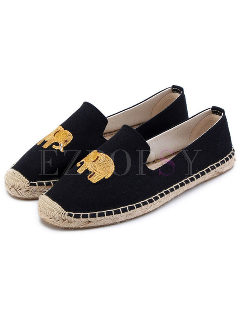Stylish Cartoon Embroidered Flat Loafers
