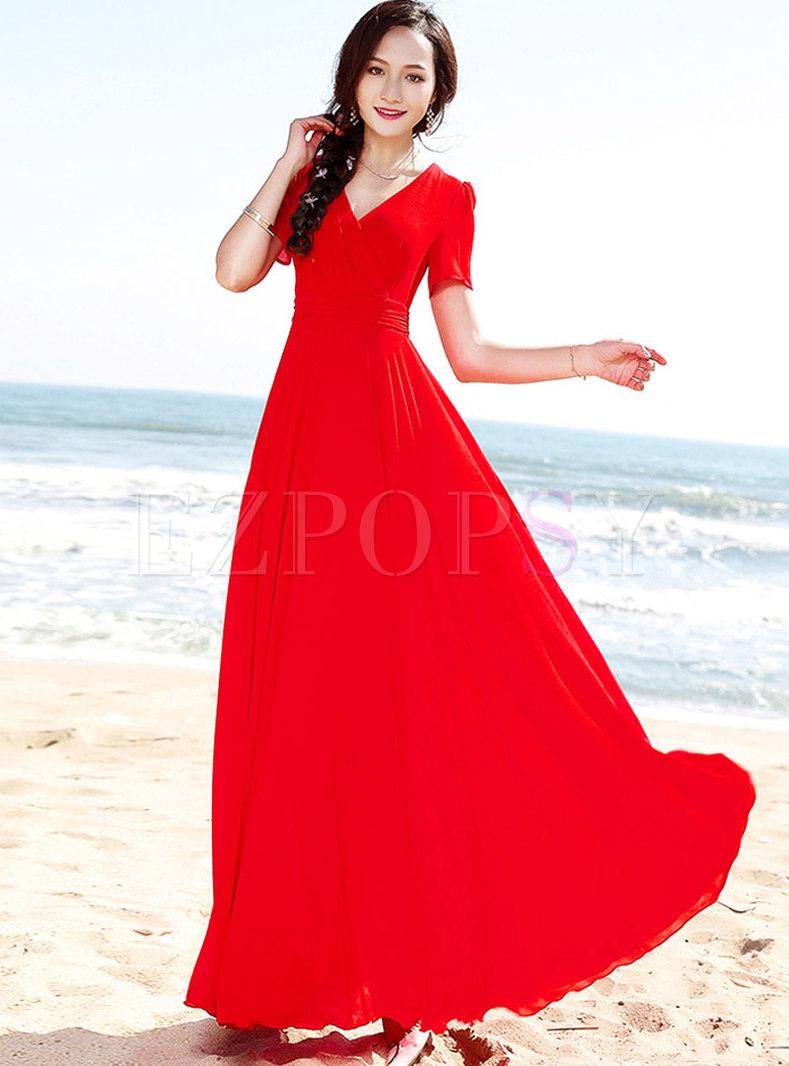 Bohemia V-neck Red Chiffon Falbala Maxi Dress