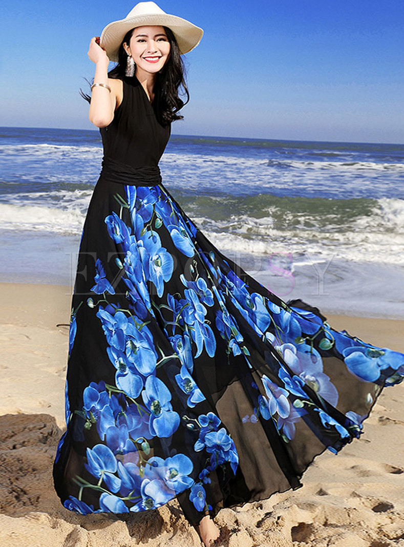 Elegant Print Patchwork Zippered Big Hem Maxi Dress