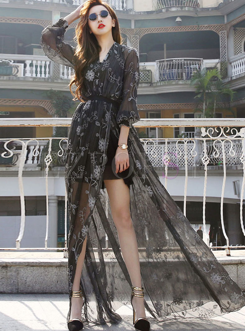 Black Mesh Lantern Sleeve Print Beach Dress