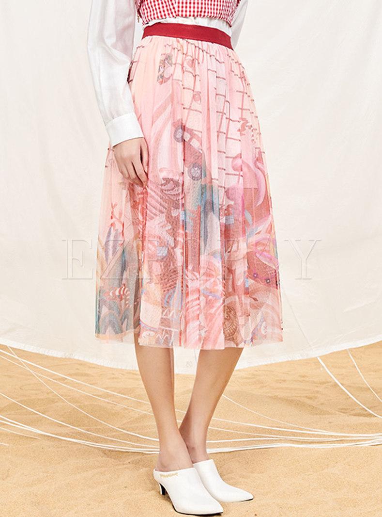 Stylish Print Elastic Waist Skirt