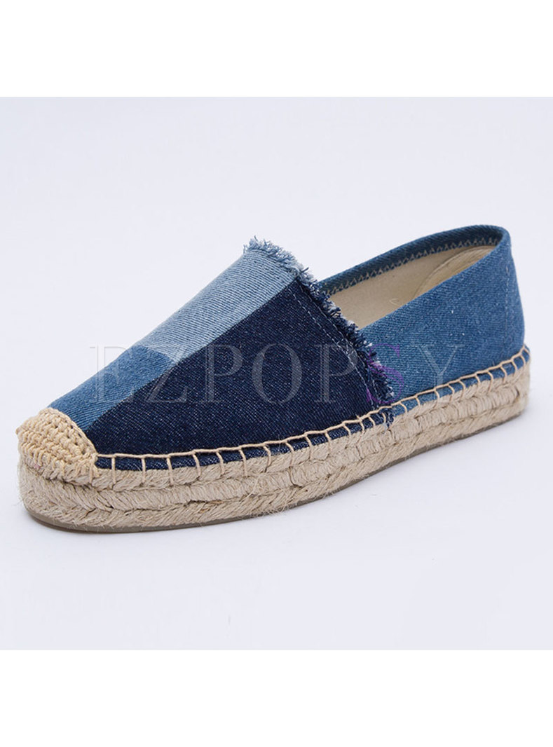 Casual Color-blocked Denim Flat Loafers