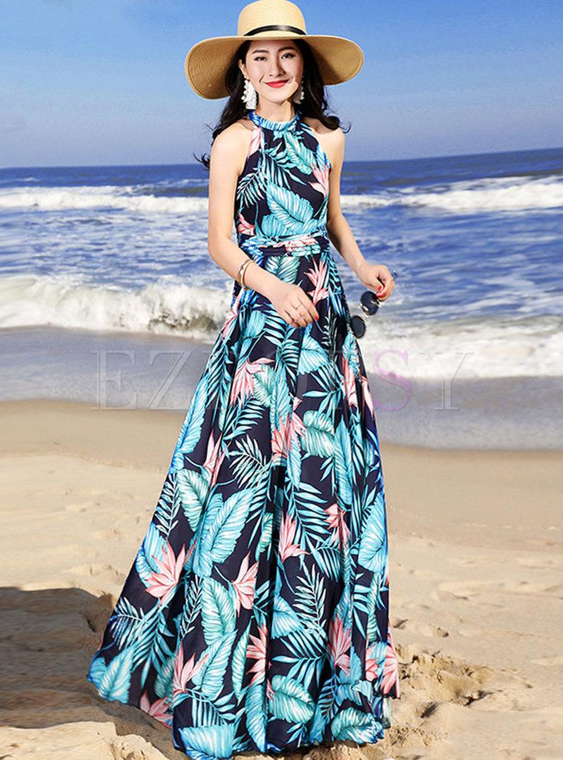 Print Sleeveless Off Shoulder Color-block Maxi Dress