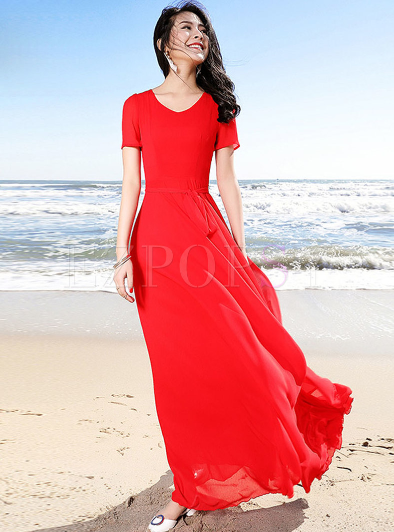Brief Red V-neck Flouncing Big Hem Maxi Dress