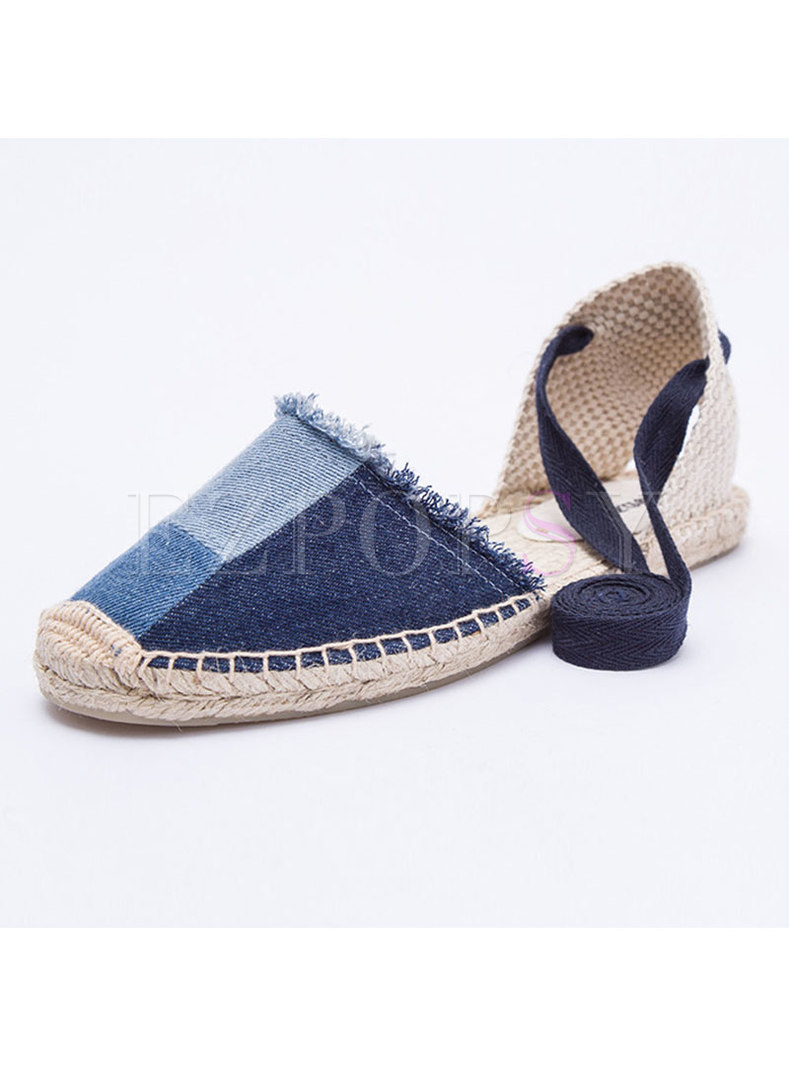 Women Comfortable Color-blocked Denim Flat Sandals