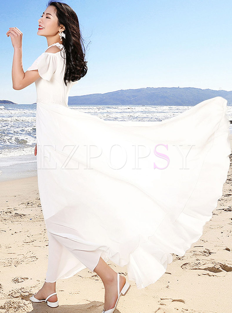 White Off shoulder Square Neck Slim Maxi Dress