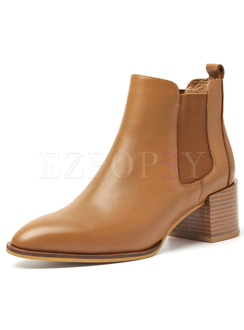 Brief Genuine Leather Chunky Heel Ankle Boots