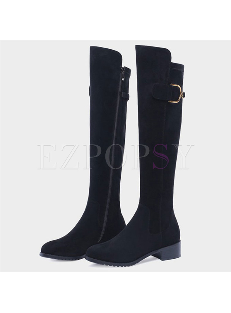 Women Winter Chunky Heel Flock Elastic Over-the-knees Boots
