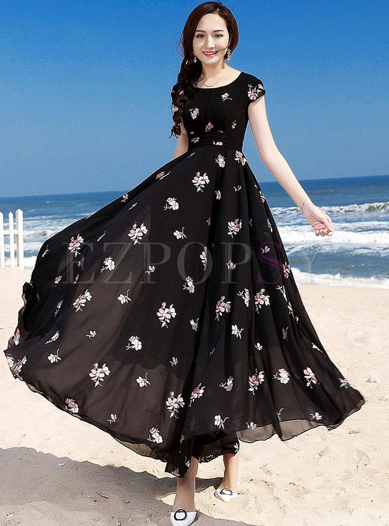 Bohemia Black Sweet O-neck Print Holiday Dress
