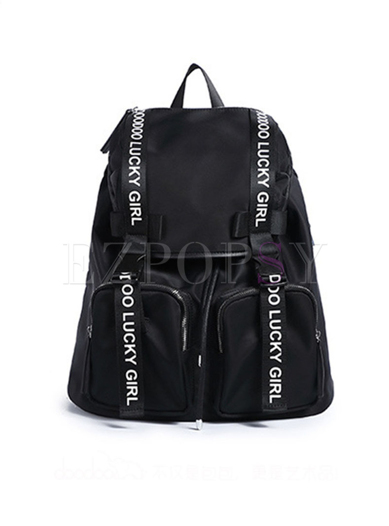 Casual PU Letter Print Backpack