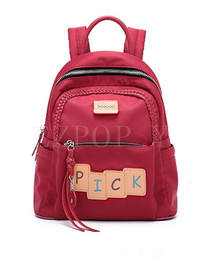 Casual PU Patchwork Zipper Backpack