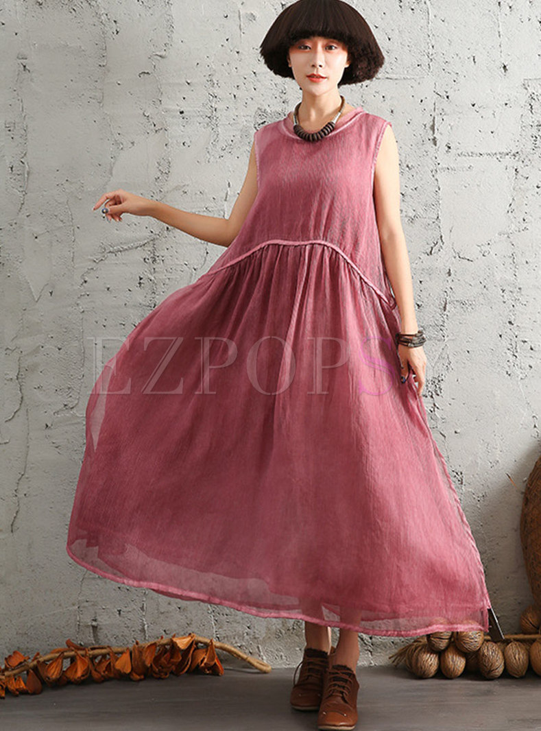 Vintage O-neck Sleeveless Loose Hem Maxi Dress