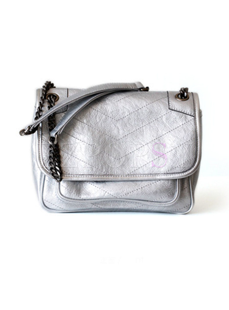 Stylish Cowhide Leather Chain Solid Color Crossbody Bag