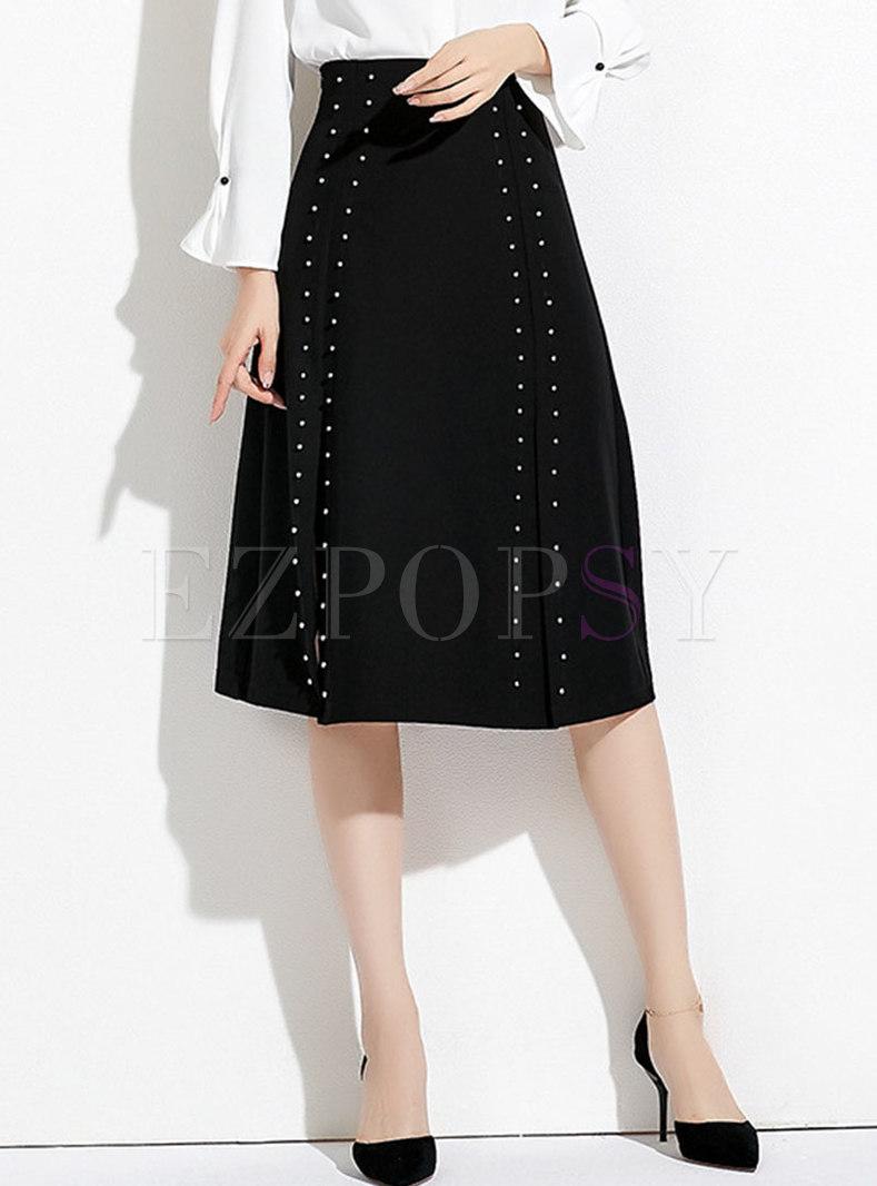 Black High Waist Drilling A Line Skirt