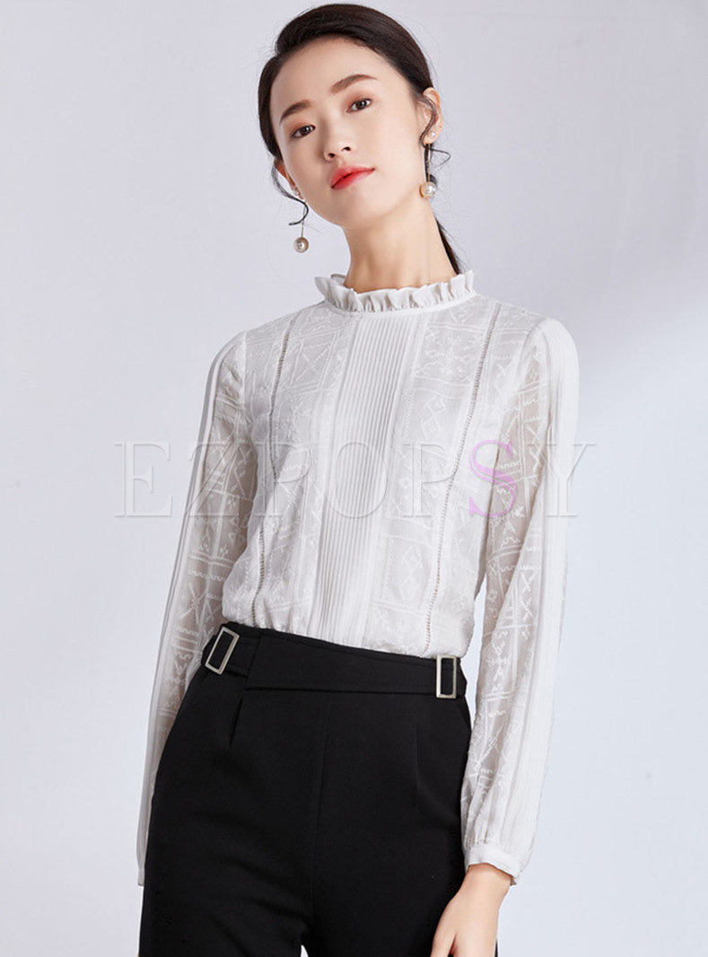 Chiffon Ruffled Collar Embroidered Pullover Blouse