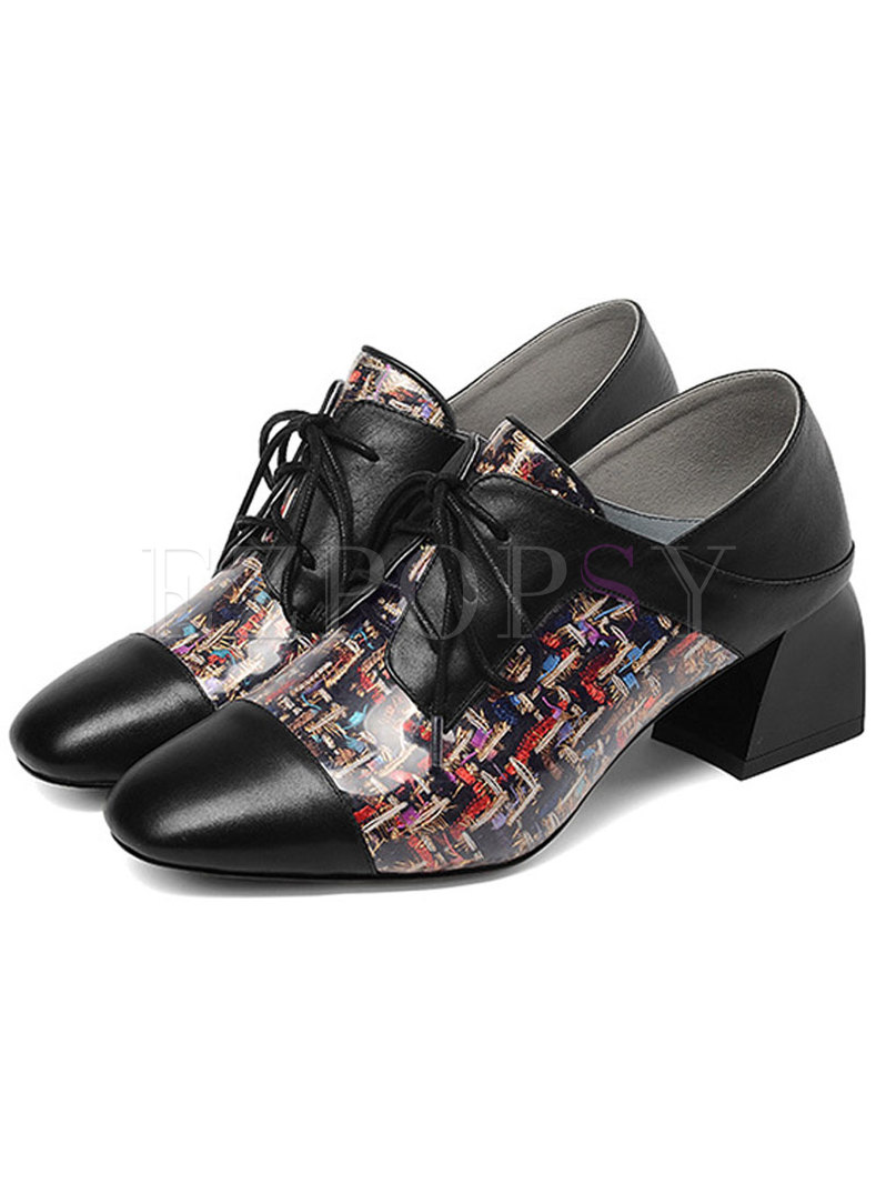 Stylish Square Toe plicing Lace Up Shoes