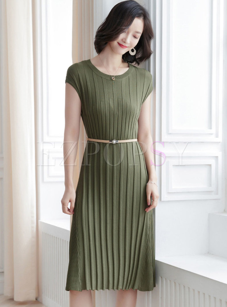 Elegant Solid Color O-neck Slim Knitted Dress