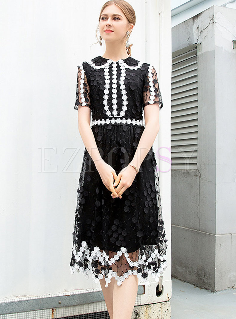 Fashion Perspective Mesh Hollow Out Sheath A-line Dress