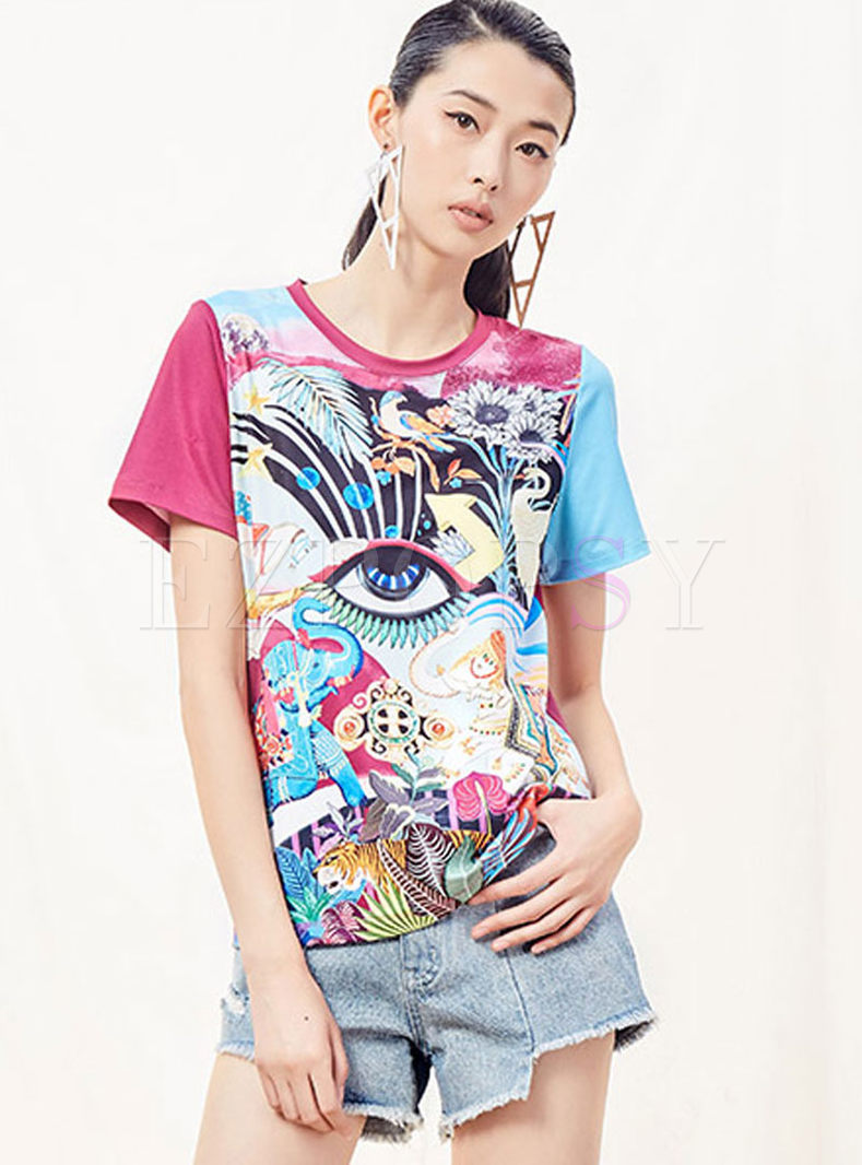 Fashion O-neck Short Sleeve Print T-shirt