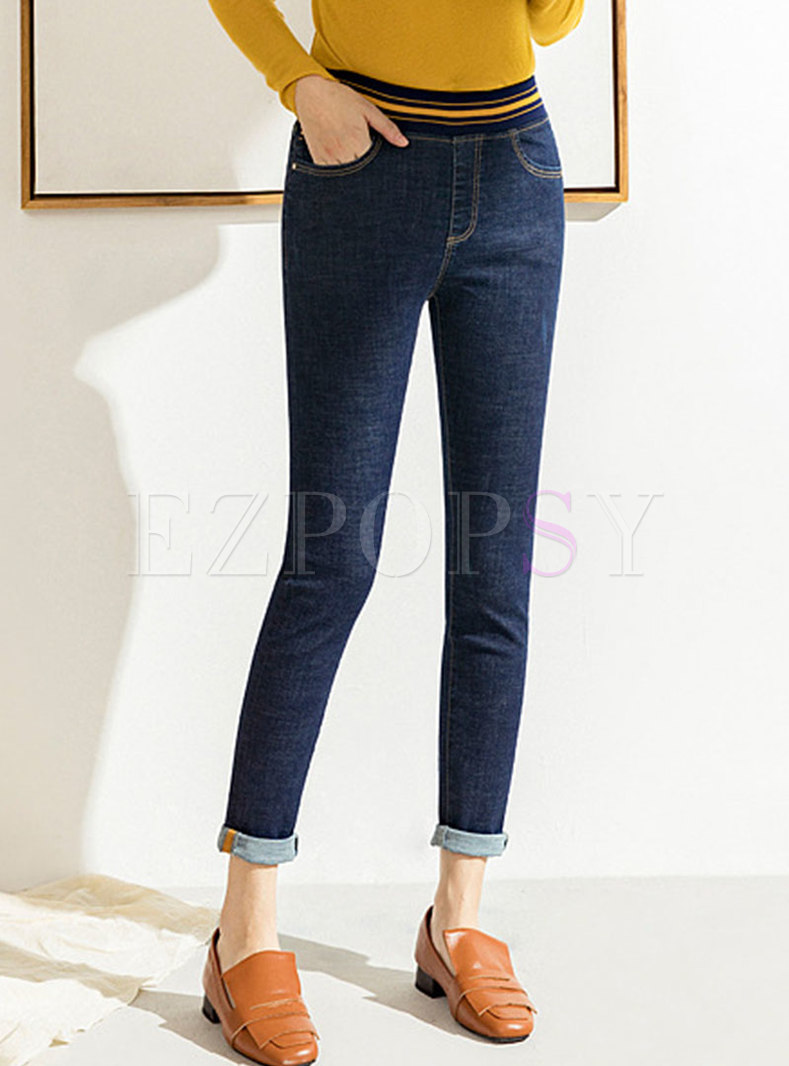 Brief Denim Elastic Waist Pencil Pants