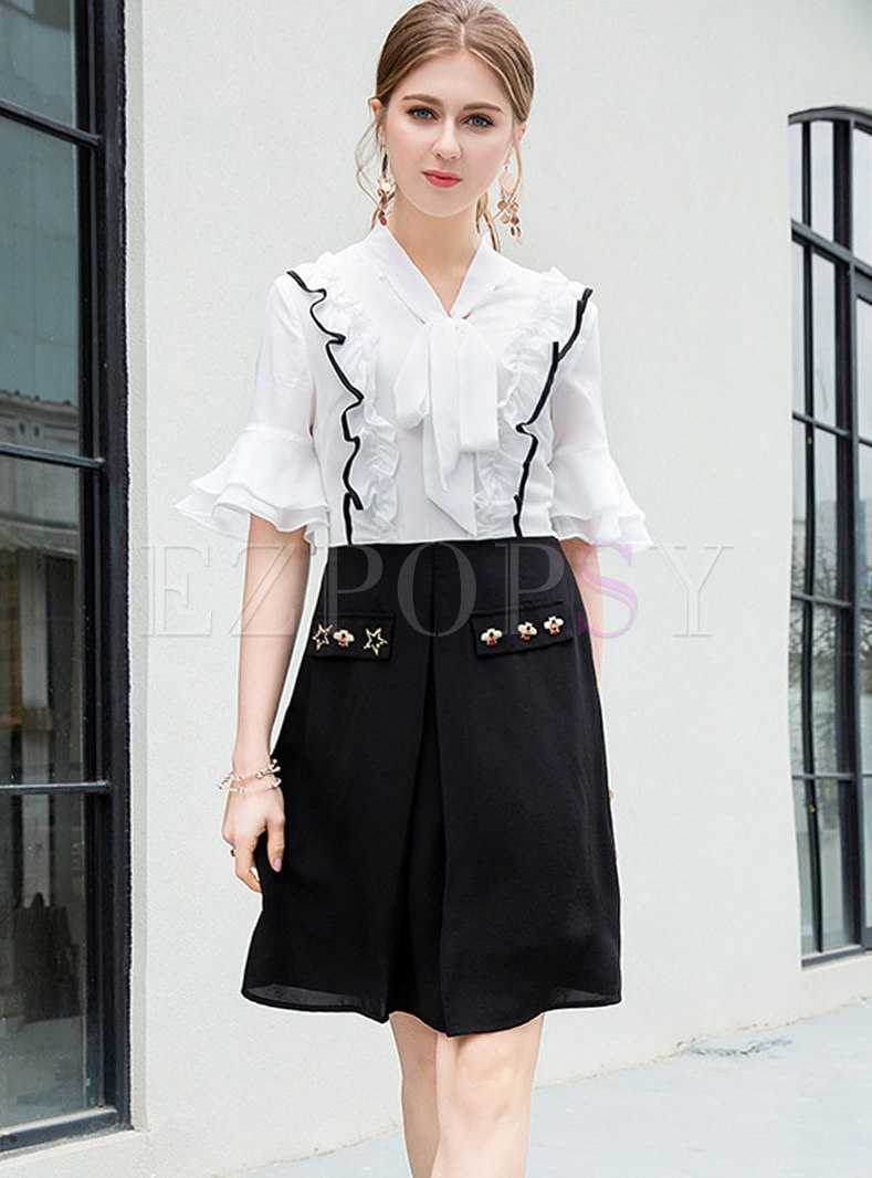 Brief Color-blocked Splicing Tied Collar Falbala Dress