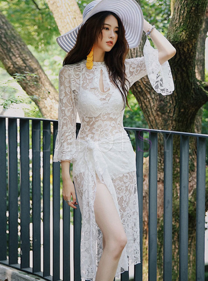 Flare Sleeve Lace Cover-up Swimwear