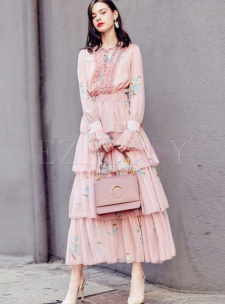 O-neck High Waist Flare Sleeve Maxi Dress