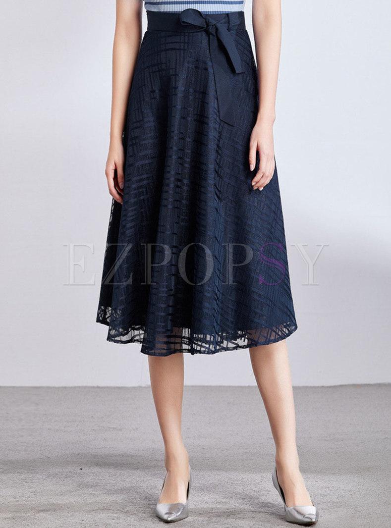 Elegant High Waist Bowknot A Line Skirt