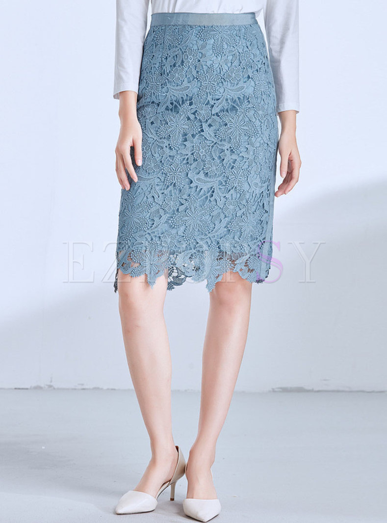 Chic Lace High Waist Slit Sheath Skirt