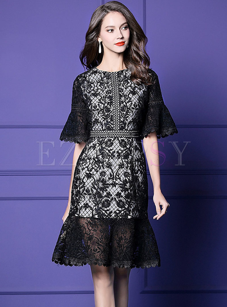 Embroidered Lace Flare Sleeve Mermaid Dress
