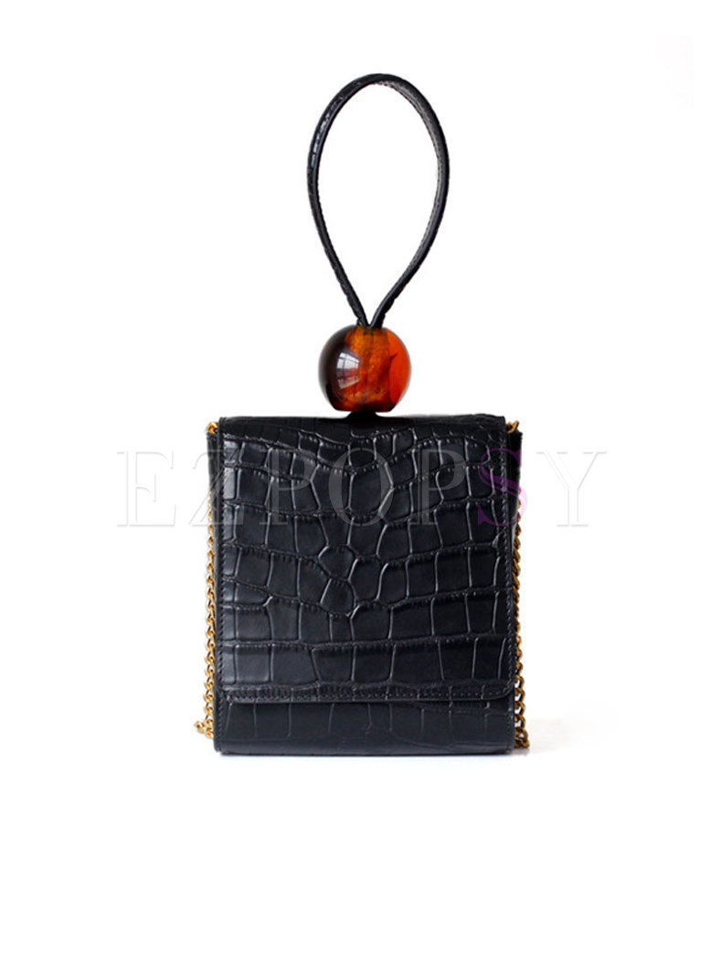 Chic Vintage Striped Bead Black Bag