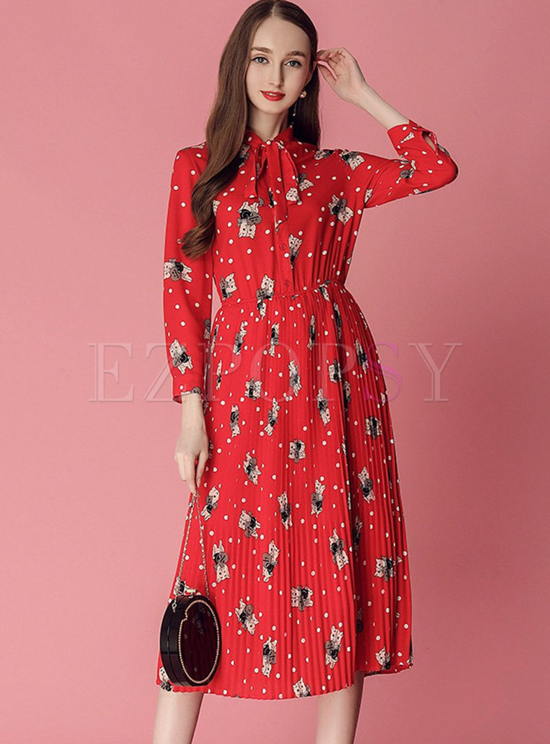 Cartoon Pattern Bowknot Gathered Waist Pleated Dress