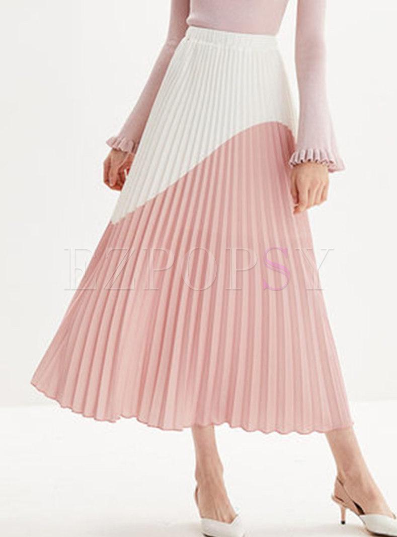 Casual Color-blocked High Waist Pleated Skirt