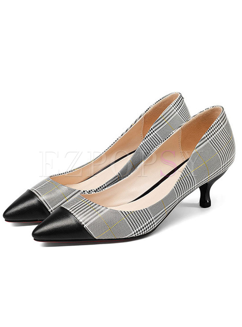 Fashion Color-blocked Plaid Leather Shoes