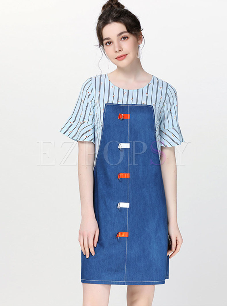 Denim Splicing Flare Sleeve Shift Dress