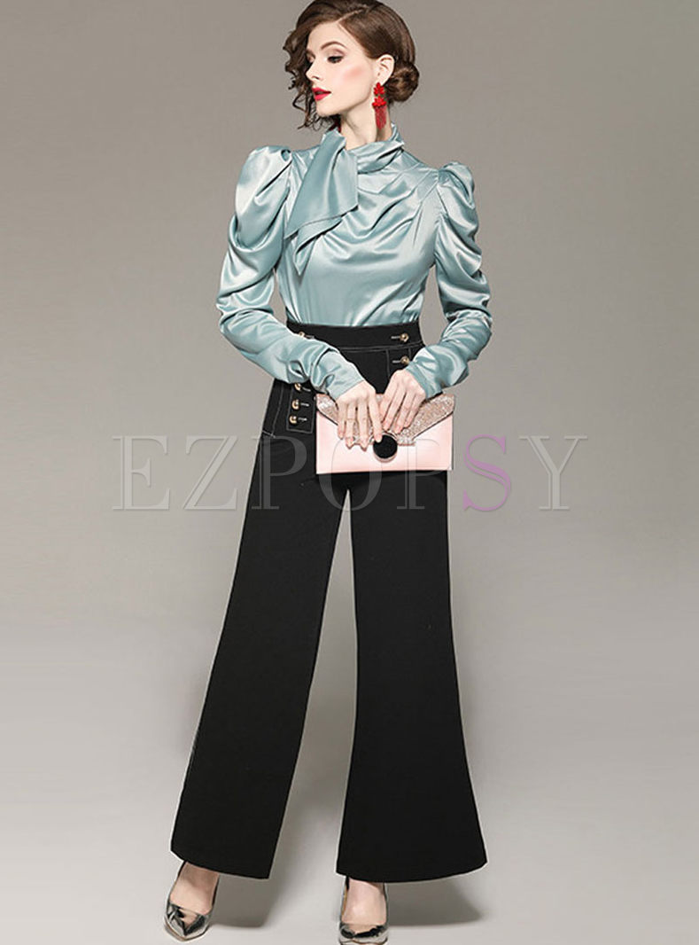 Standing Collar Wide Leg Two Piece Outfits