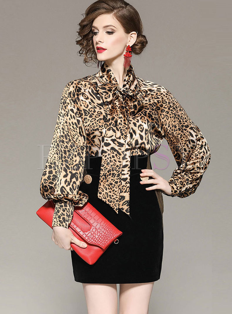 Leopard Bowknot Top & High Waist Slim Skirt