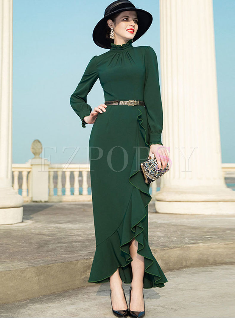 Stylish Waist Falbala Asymmetric Sheath Dress
