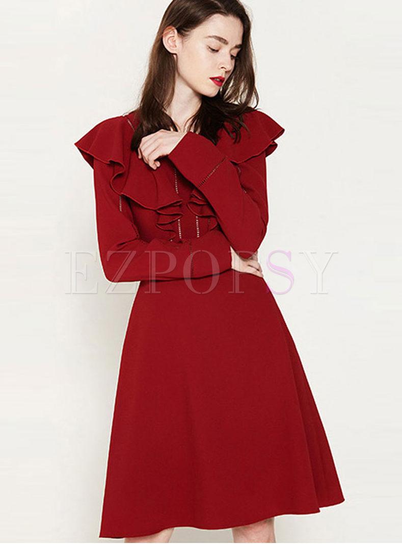 Elegant V-neck Long Sleeve Falbala Dress