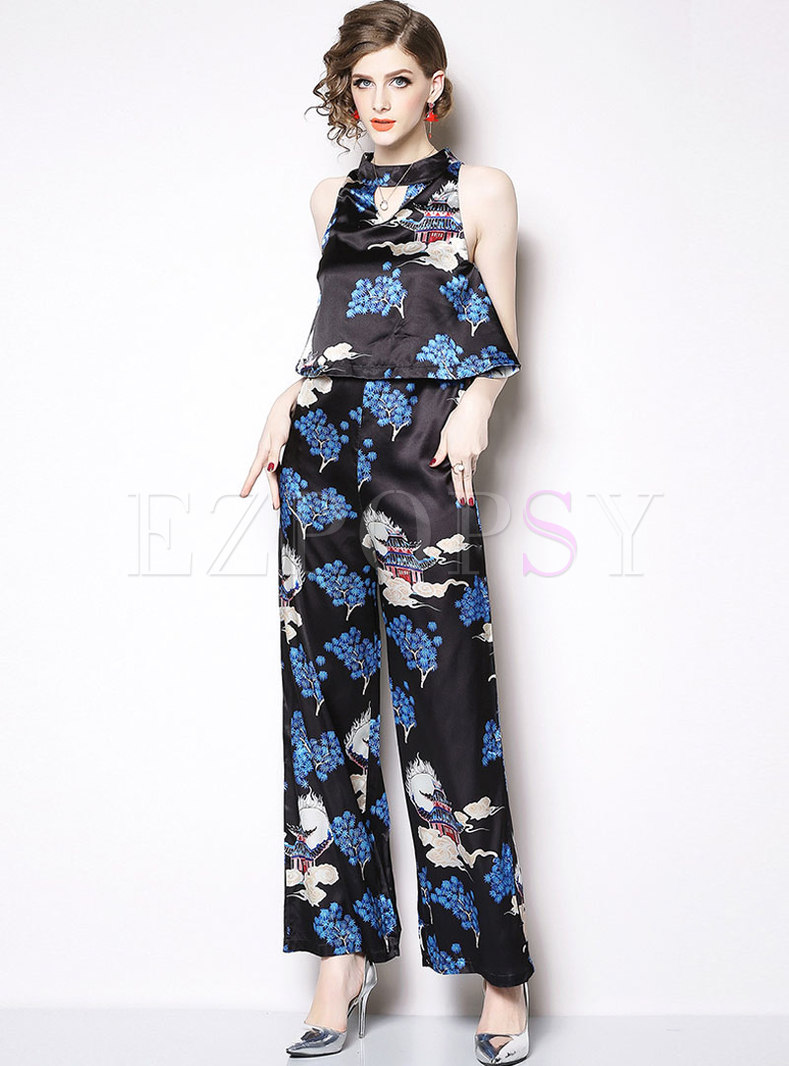 Chic Print Halter Off Shoulder Jumpsuit