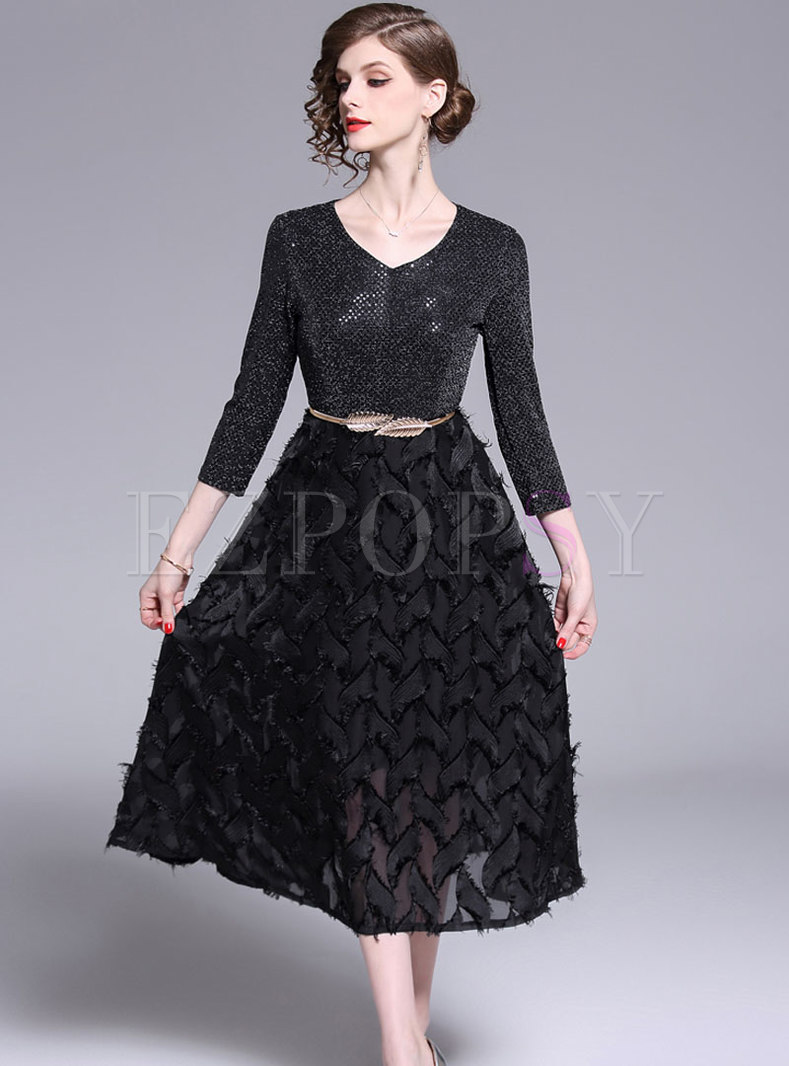 Trendy Feather Sequined Splicing Tassel Skater Dress