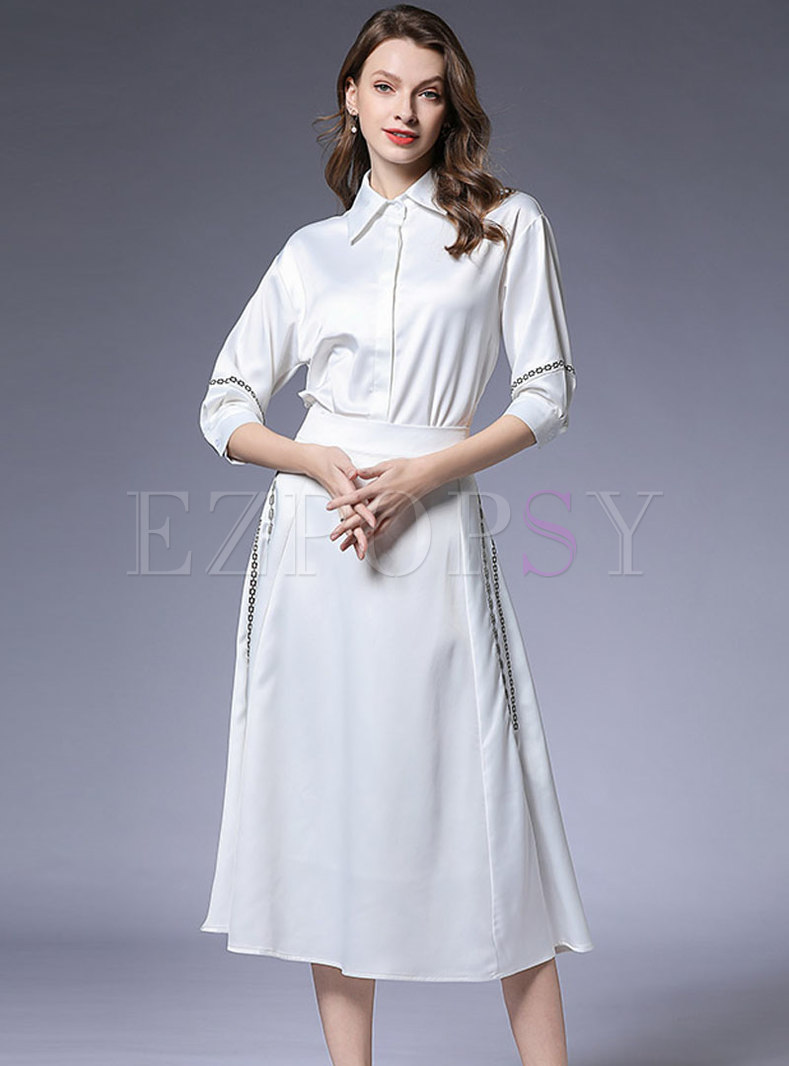 Chic White Three Quarters Blouse & A Line Skirt