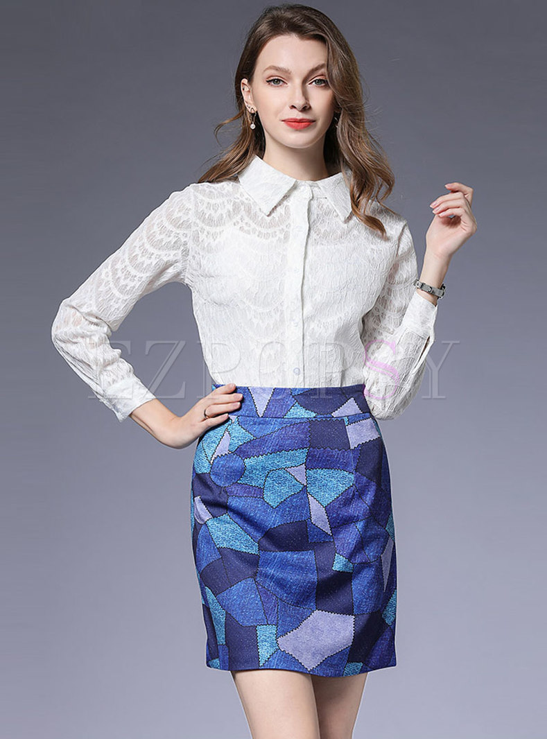 Pure Color Lace Bilouse & Print Mini Skirt