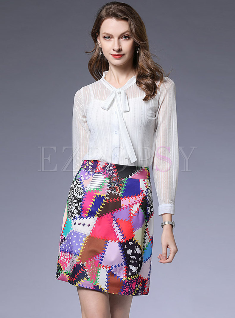 Stylish Bowknot Collar White Blouse & Color-blocked Skirt