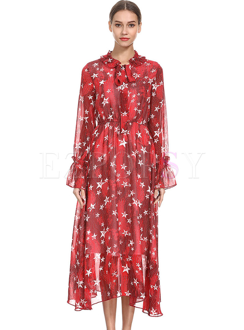 Asymmetric Print O-neck Ruffle Sleeve Maxi Dress